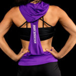 Sleeveless hoodie for women in purple, back view